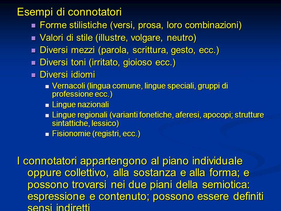 Esempi di connotatori Forme stilistiche (versi, prosa, loro combinazioni) Valori di stile (illustre, volgare, neutro)