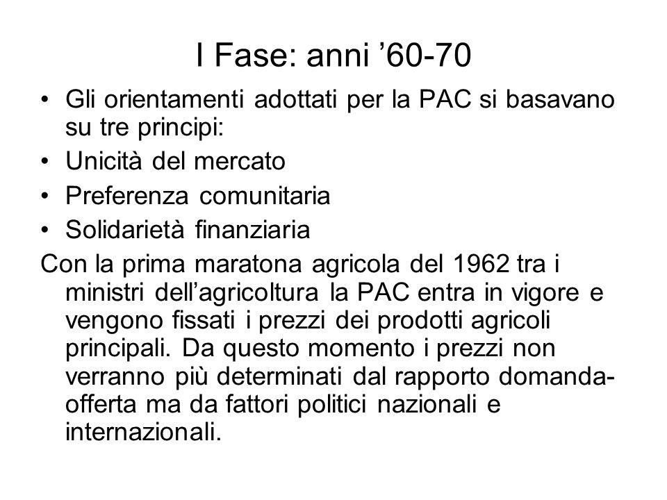 I Fase: anni '60-70 Gli orientamenti adottati per la PAC si basavano su tre principi: Unicità del mercato.
