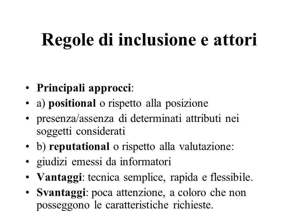 Regole di inclusione e attori