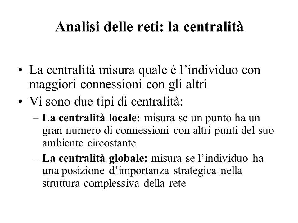 Analisi delle reti: la centralità