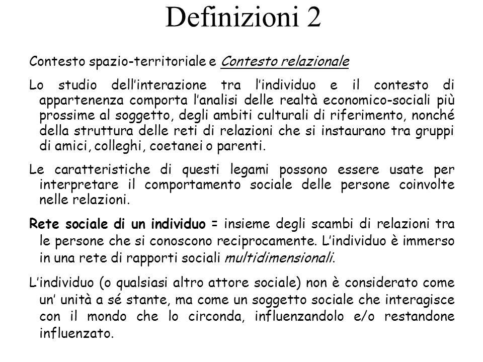 Definizioni 2 Contesto spazio-territoriale e Contesto relazionale
