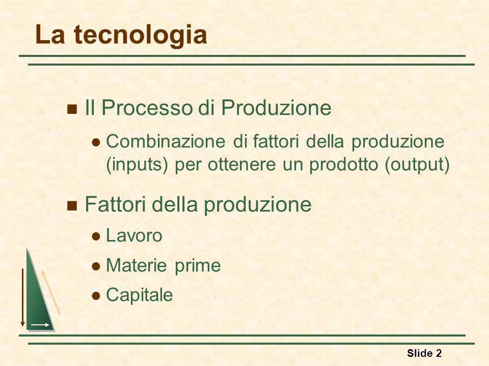 La tecnologia Il Processo di Produzione Fattori della produzione