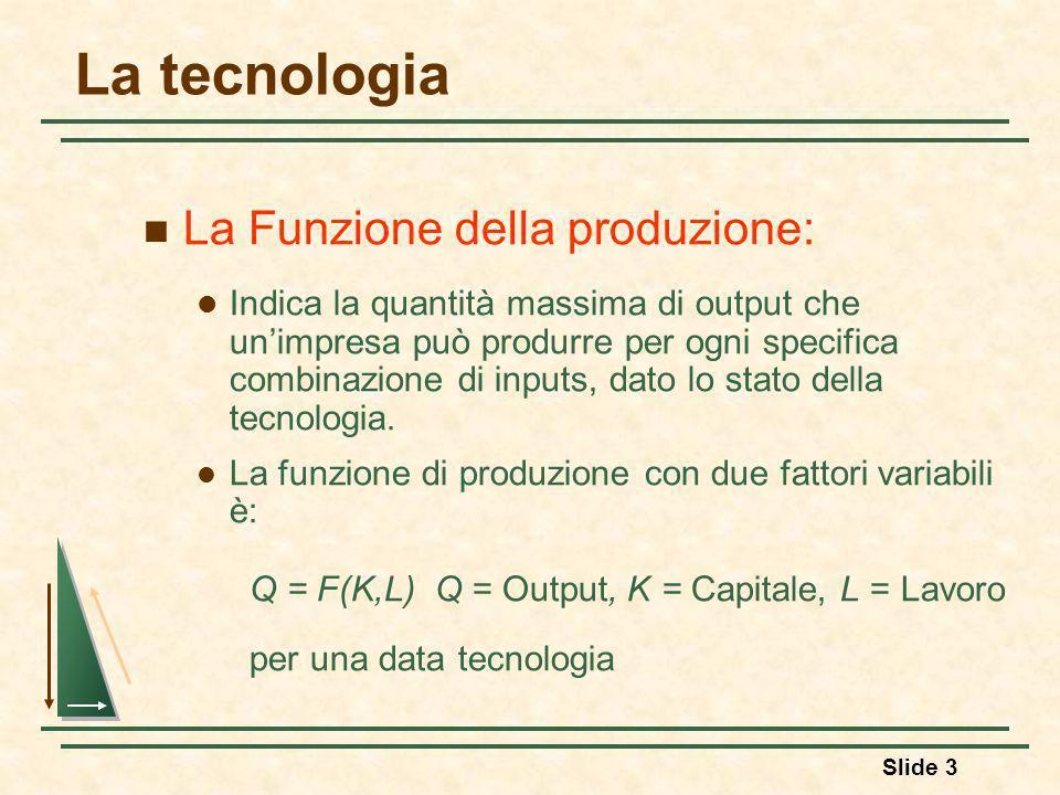 La tecnologia La Funzione della produzione: