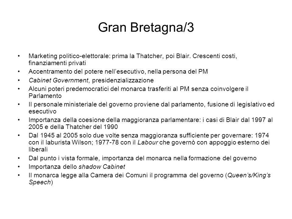 Gran Bretagna/3 Marketing politico-elettorale: prima la Thatcher, poi Blair. Crescenti costi, finanziamenti privati.