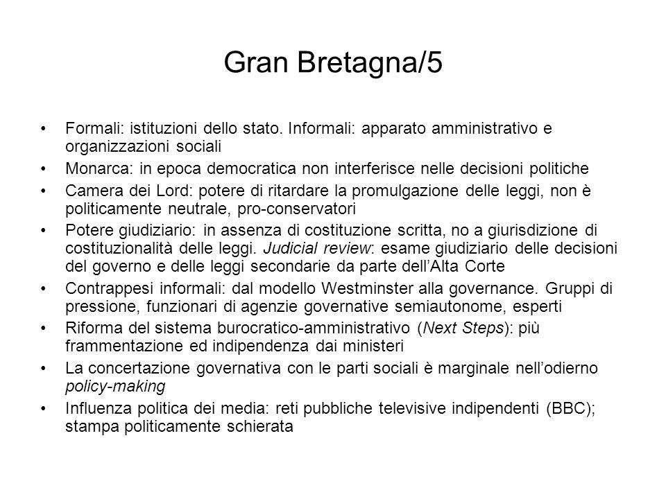 Gran Bretagna/5 Formali: istituzioni dello stato. Informali: apparato amministrativo e organizzazioni sociali.