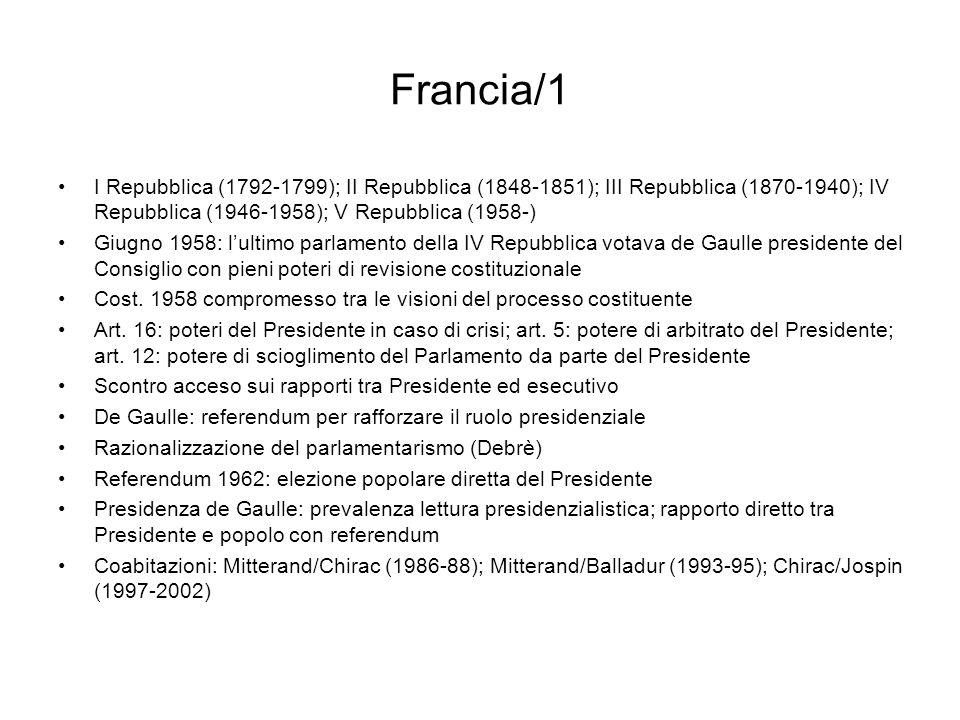 Francia/1 I Repubblica (1792-1799); II Repubblica (1848-1851); III Repubblica (1870-1940); IV Repubblica (1946-1958); V Repubblica (1958-)