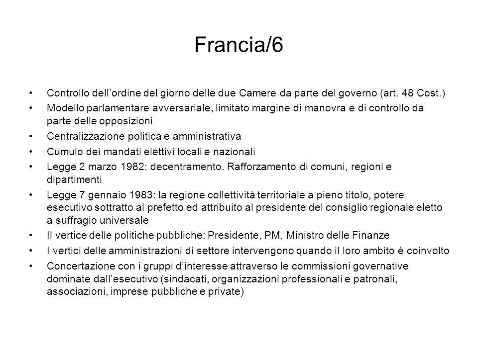 Francia/6 Controllo dell'ordine del giorno delle due Camere da parte del governo (art. 48 Cost.)