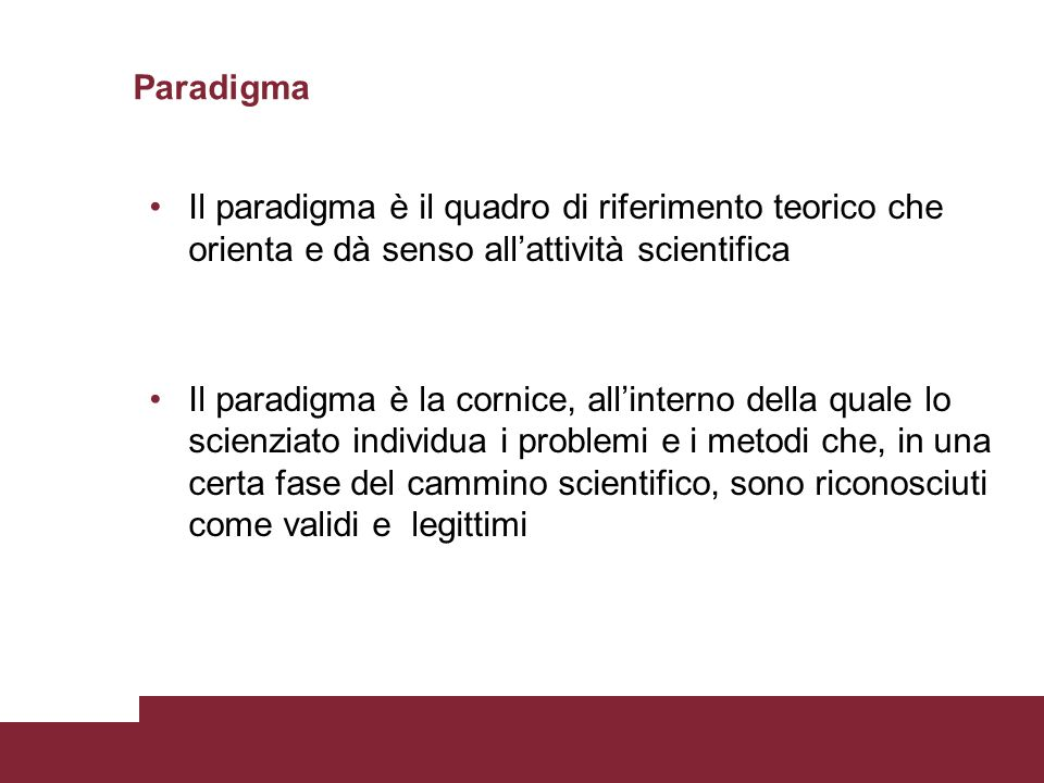 Paradigma Il paradigma è il quadro di riferimento teorico che orienta e dà senso all'attività scientifica.