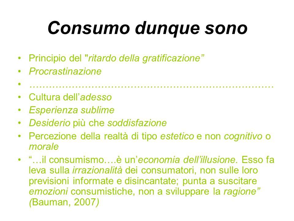 Consumo dunque sono Principio del ritardo della gratificazione