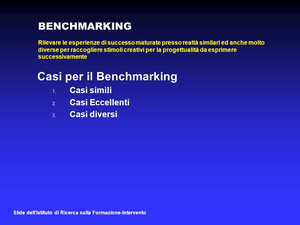 Casi per il Benchmarking