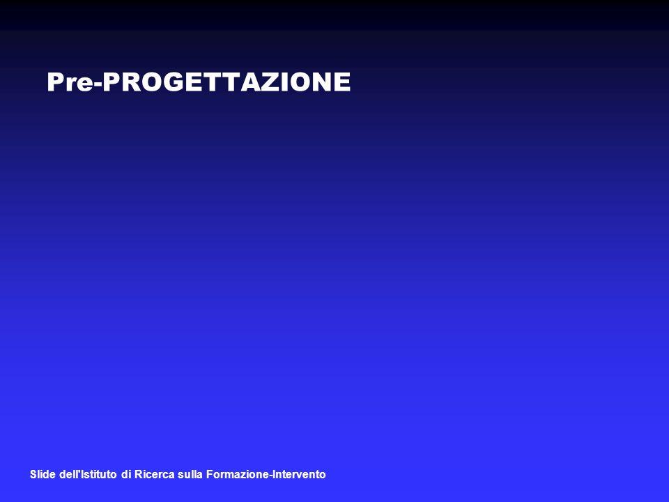 Pre-PROGETTAZIONE Slide dell Istituto di Ricerca sulla Formazione-Intervento