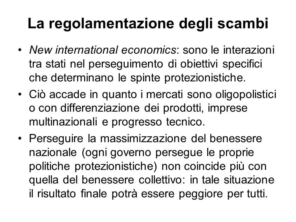 La regolamentazione degli scambi