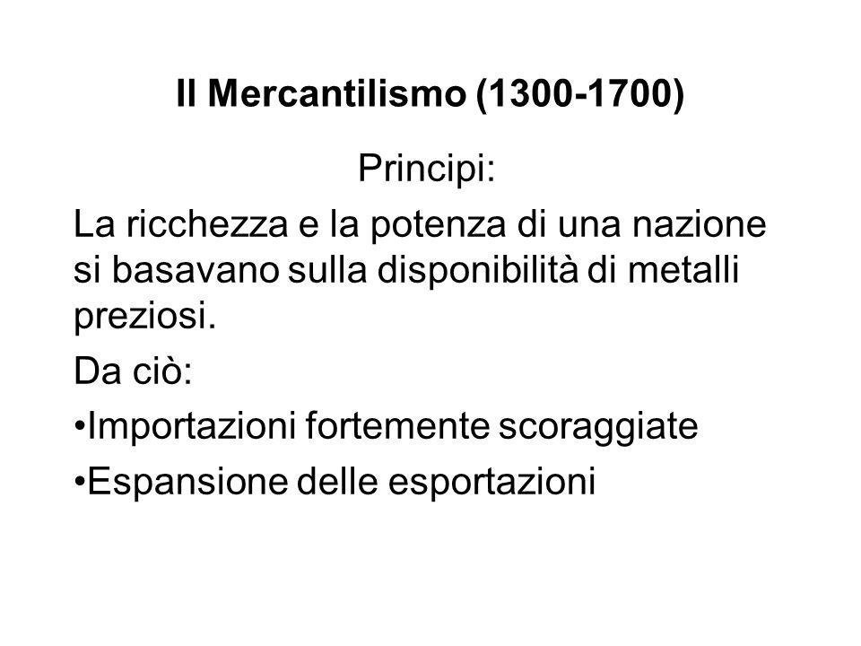 Il Mercantilismo (1300-1700) Principi: La ricchezza e la potenza di una nazione si basavano sulla disponibilità di metalli preziosi.