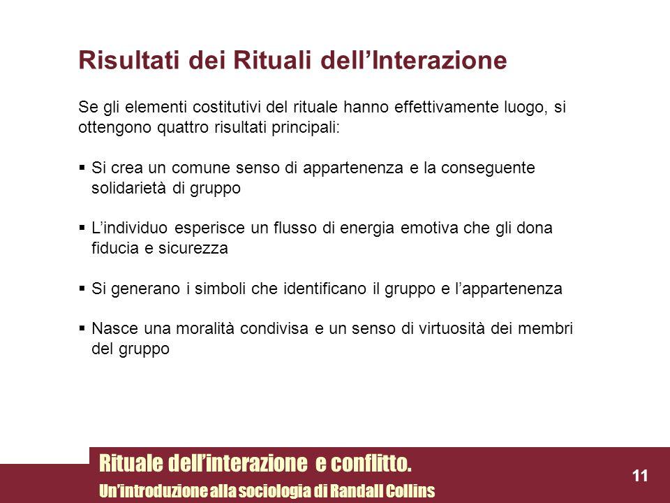 Risultati dei Rituali dell'Interazione