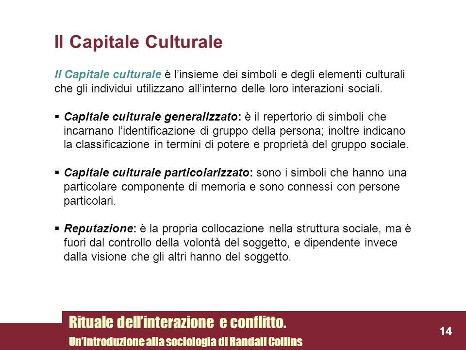 Il Capitale Culturale Rituale dell'interazione e conflitto.