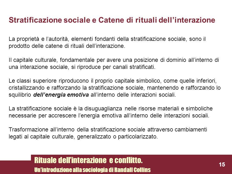 Stratificazione sociale e Catene di rituali dell'interazione