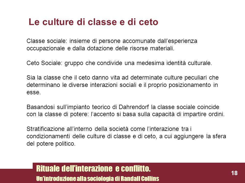 Le culture di classe e di ceto