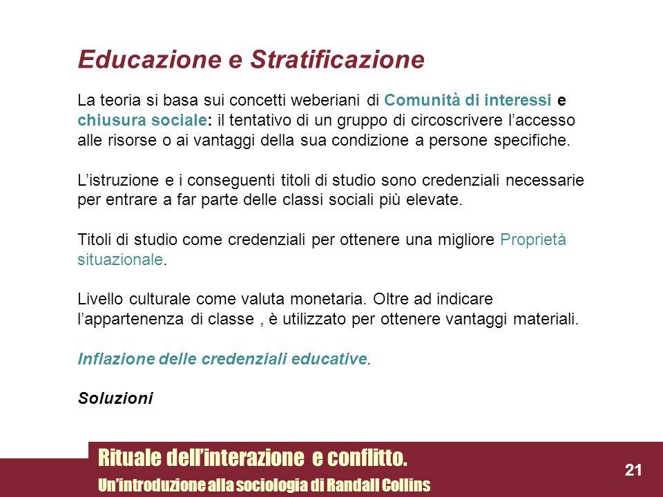 Educazione e Stratificazione