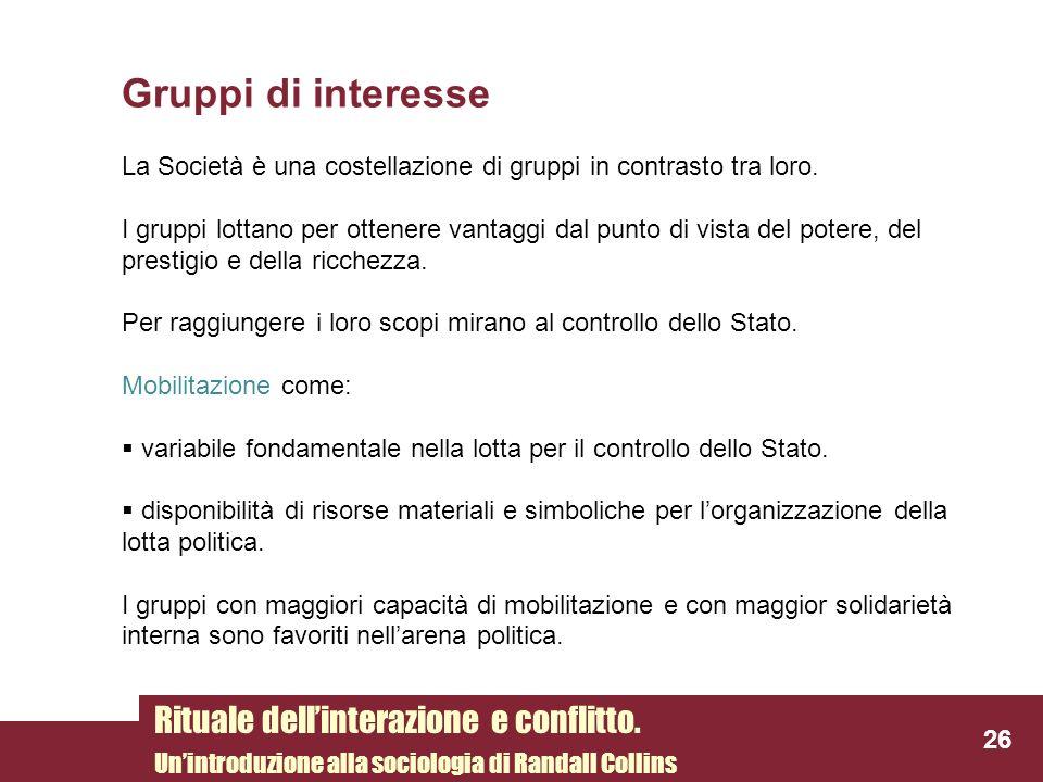 Gruppi di interesse Rituale dell'interazione e conflitto.