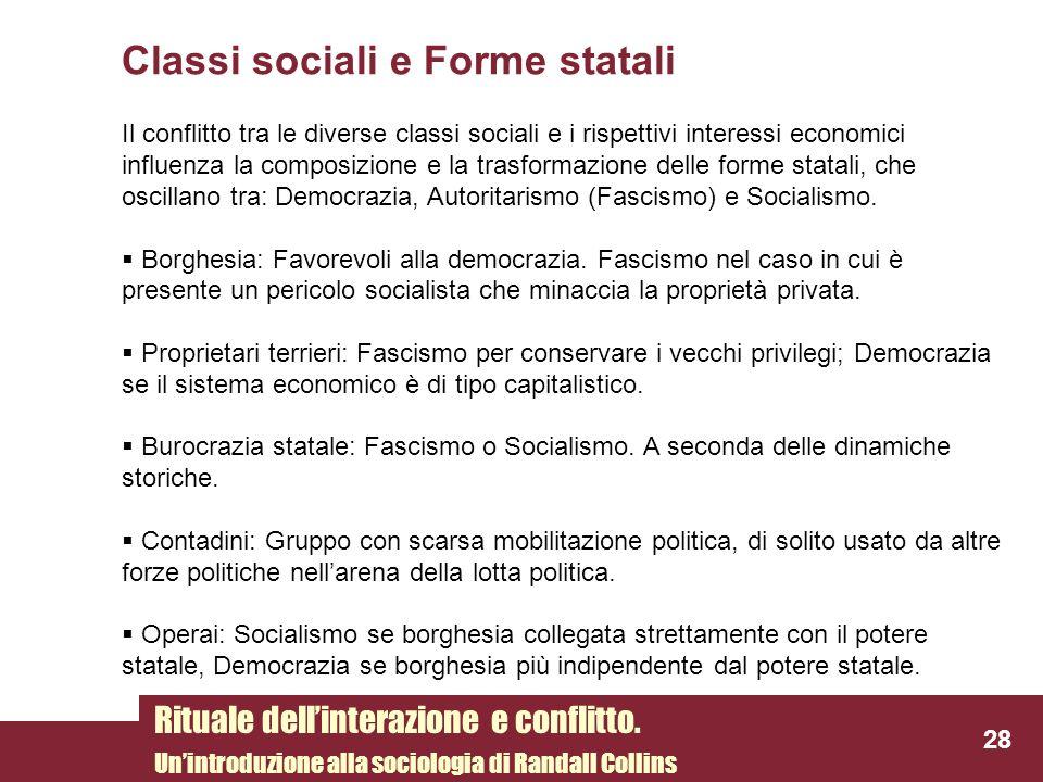 Classi sociali e Forme statali