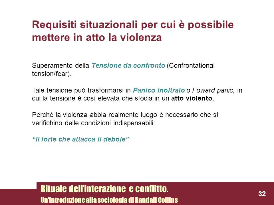 Requisiti situazionali per cui è possibile mettere in atto la violenza