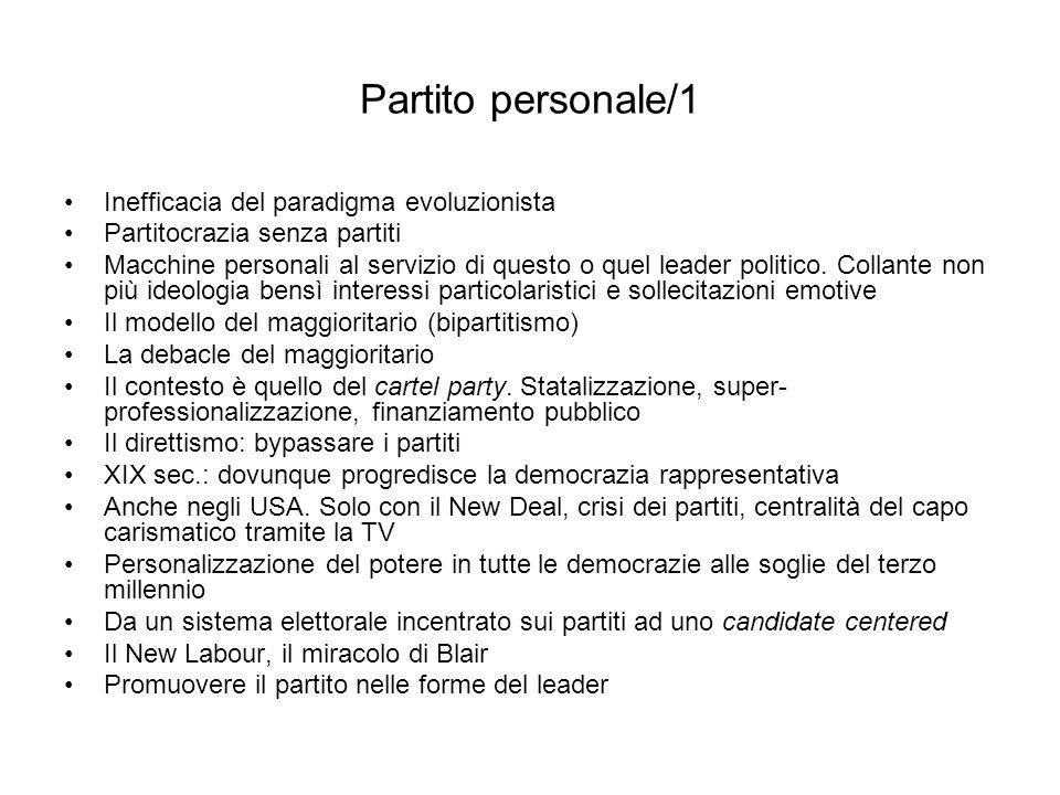 Partito personale/1 Inefficacia del paradigma evoluzionista