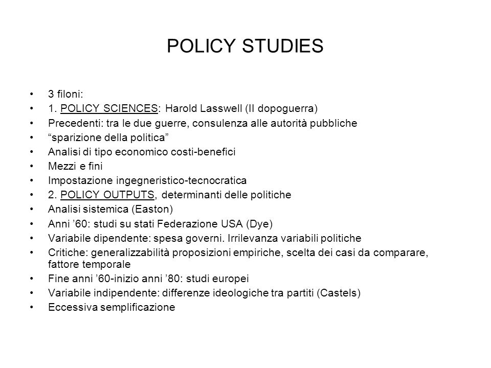 POLICY STUDIES 3 filoni: