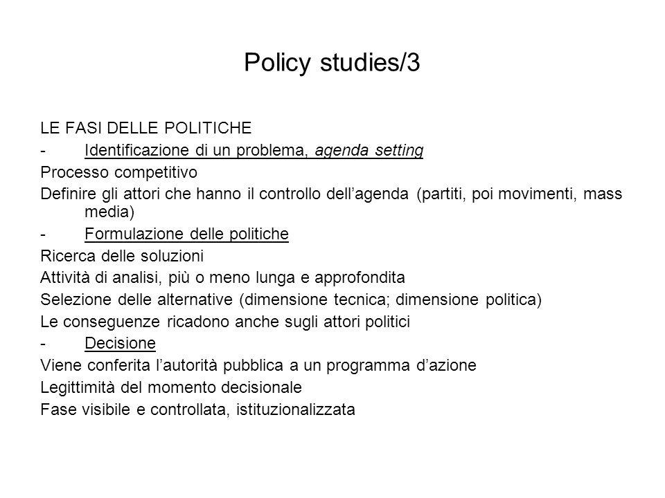 Policy studies/3 LE FASI DELLE POLITICHE
