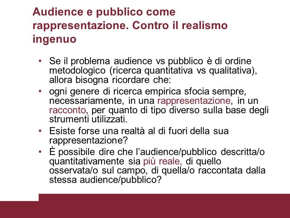 Audience e pubblico come rappresentazione. Contro il realismo ingenuo