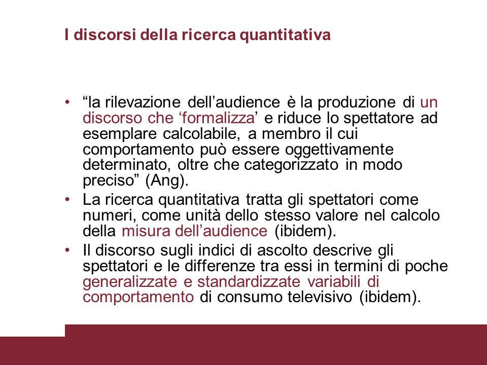 I discorsi della ricerca quantitativa