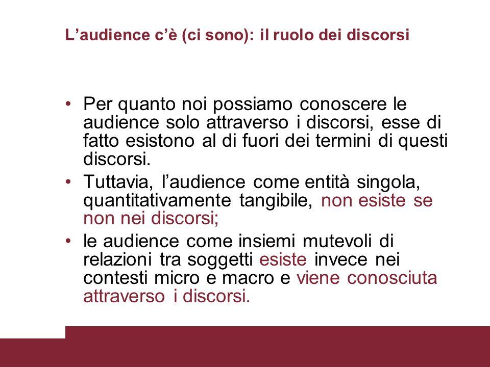 L'audience c'è (ci sono): il ruolo dei discorsi