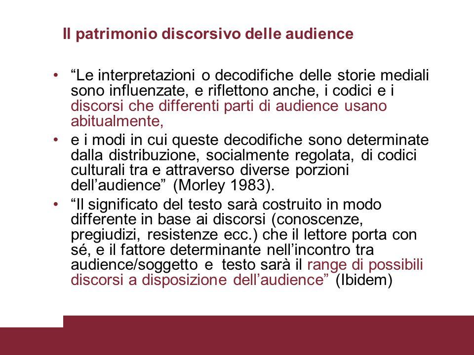 Il patrimonio discorsivo delle audience