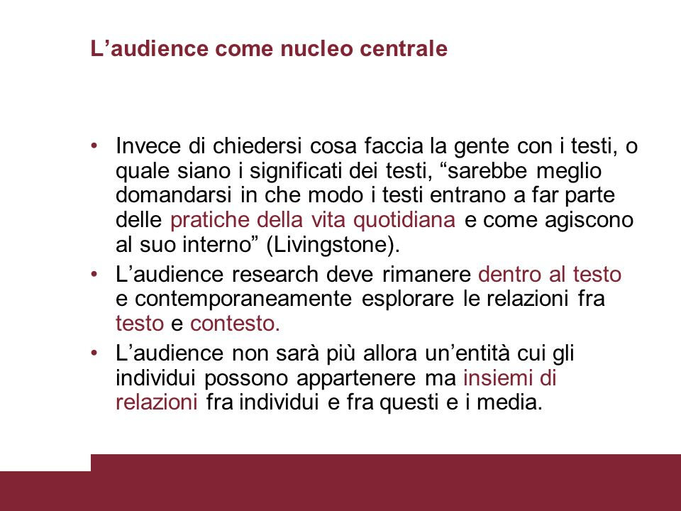 L'audience come nucleo centrale