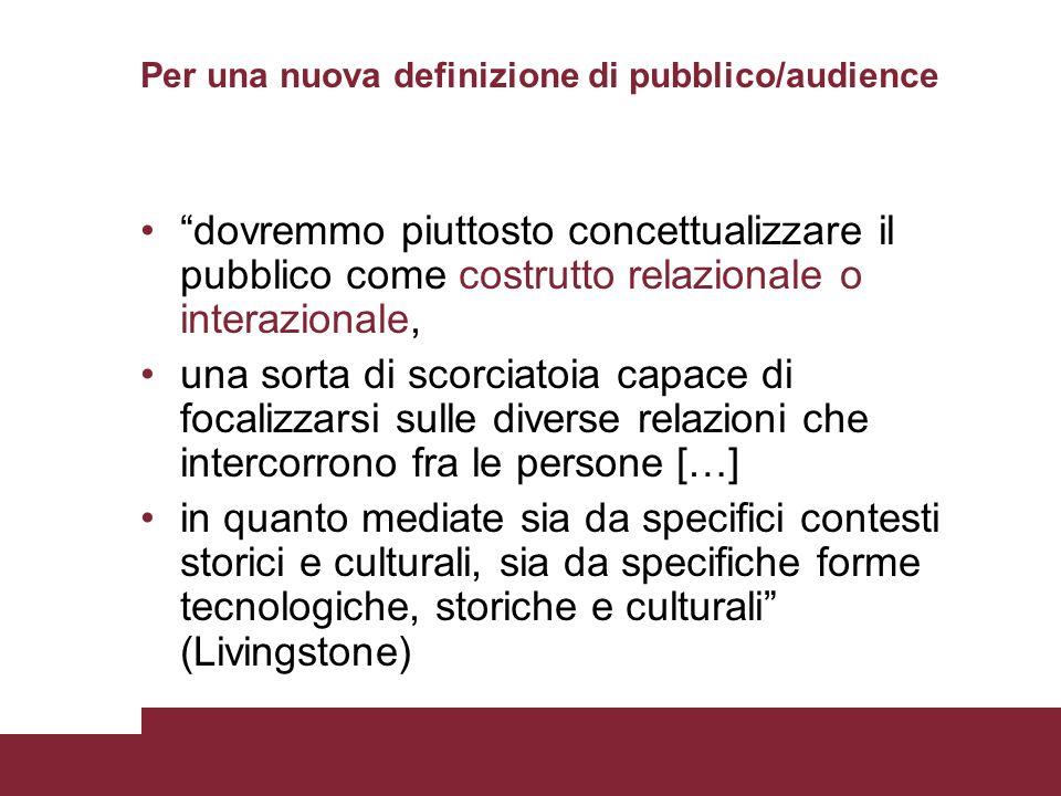 Per una nuova definizione di pubblico/audience