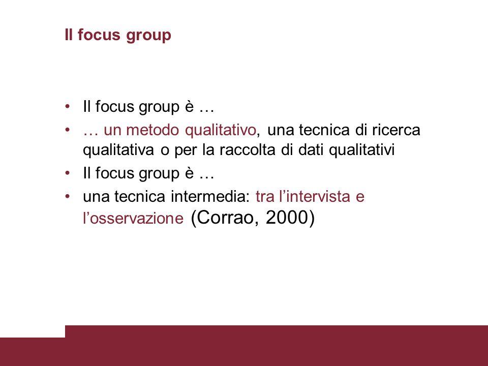 Il focus group Il focus group è … … un metodo qualitativo, una tecnica di ricerca qualitativa o per la raccolta di dati qualitativi.