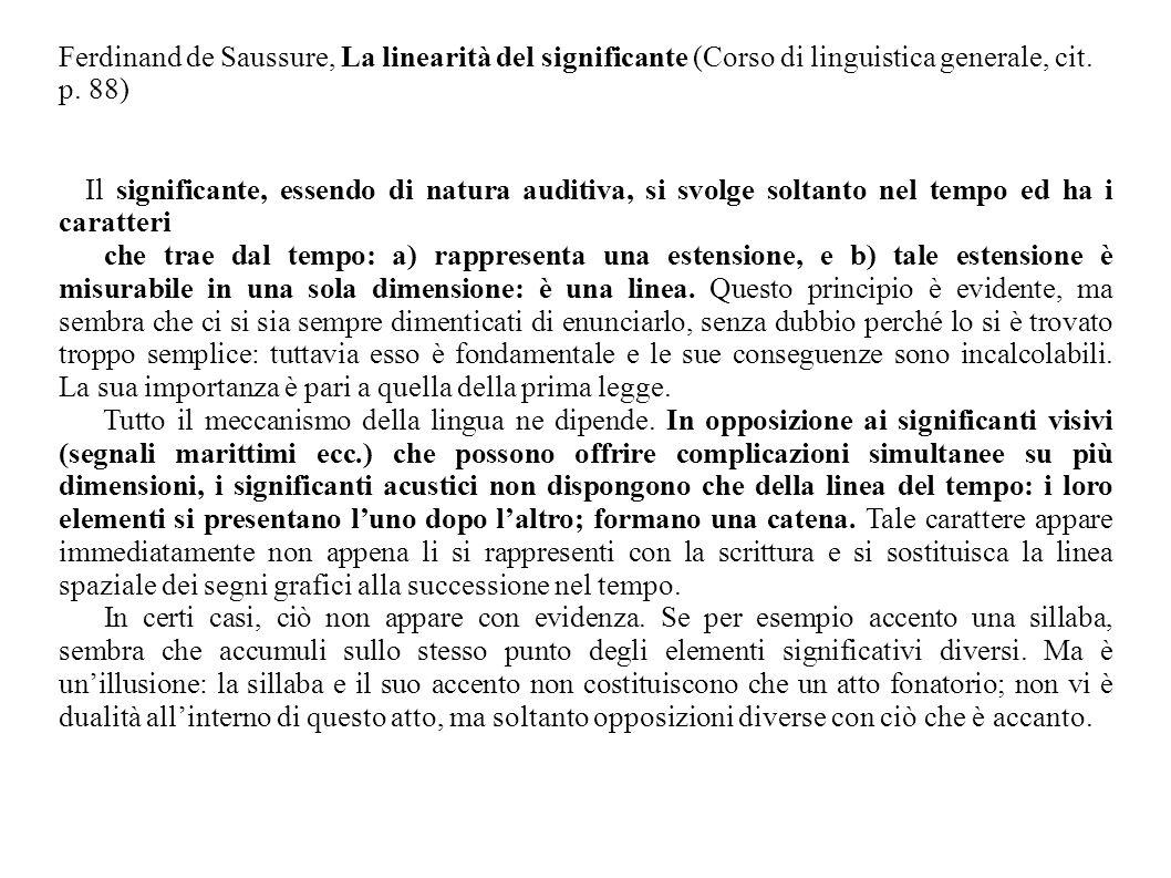 Ferdinand de Saussure, La linearità del significante (Corso di linguistica generale, cit. p. 88)