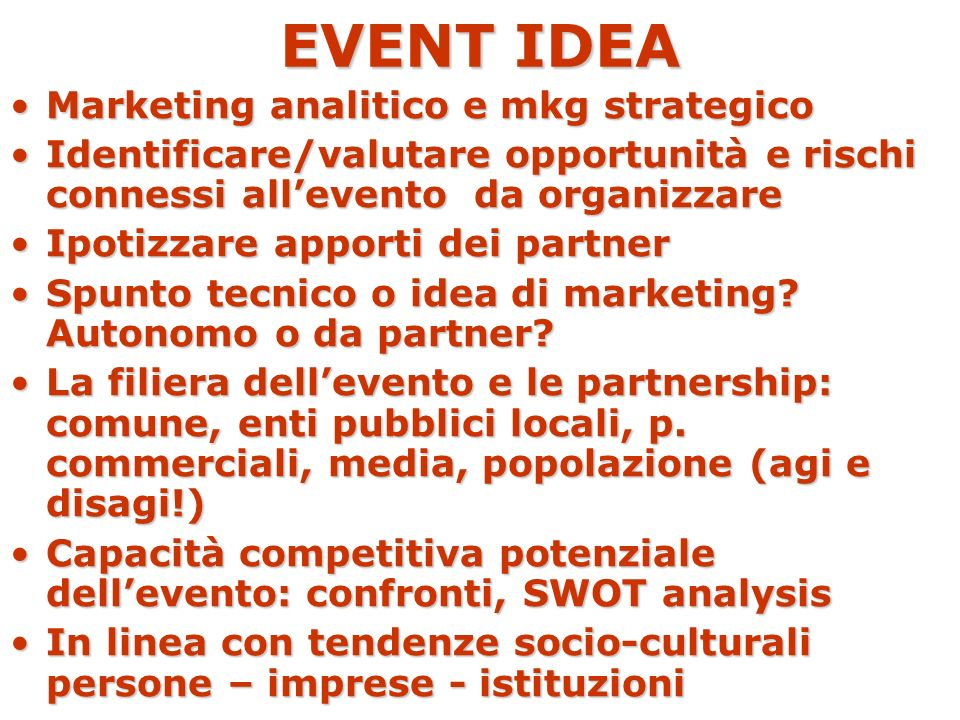EVENT IDEA Marketing analitico e mkg strategico