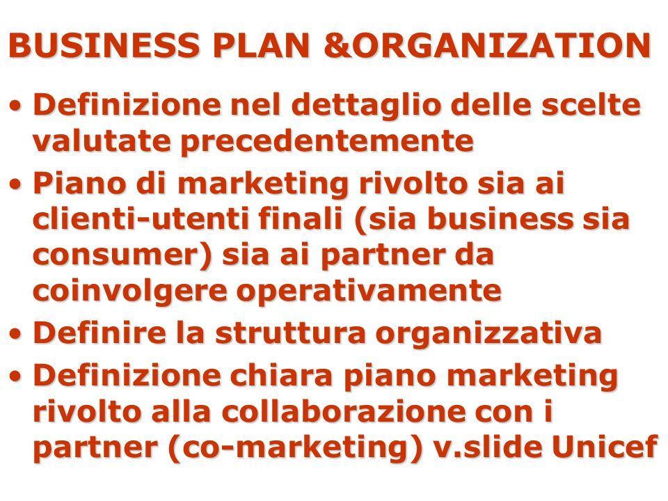 BUSINESS PLAN &ORGANIZATION
