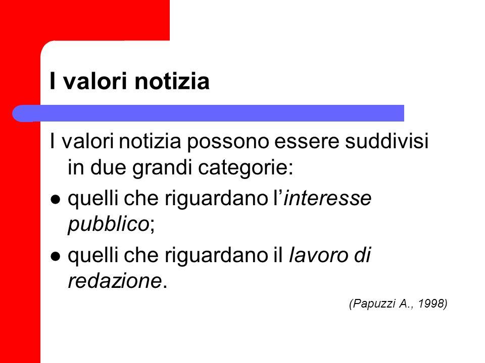 I valori notizia I valori notizia possono essere suddivisi in due grandi categorie: quelli che riguardano l'interesse pubblico;