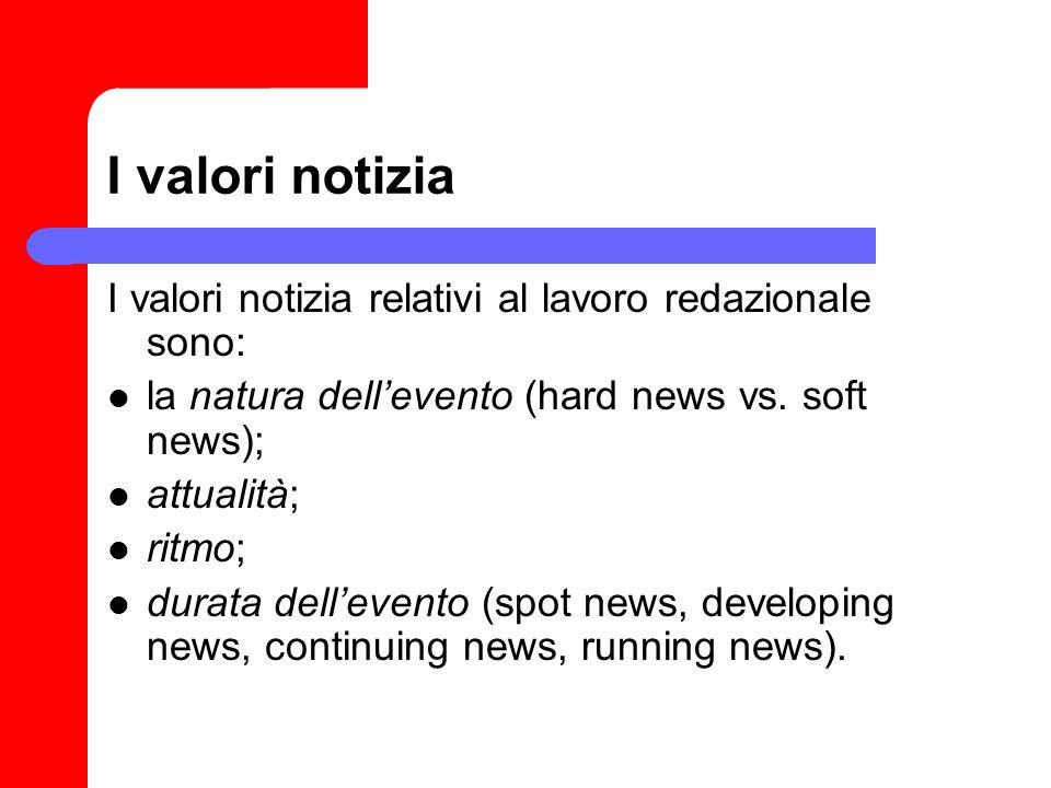 I valori notizia I valori notizia relativi al lavoro redazionale sono: