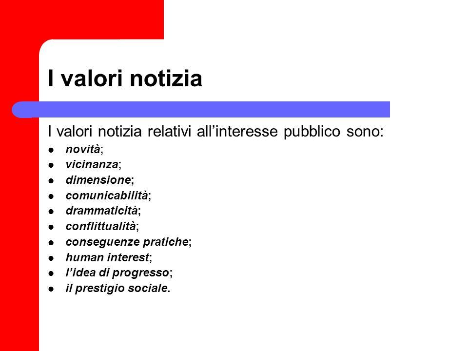 I valori notizia I valori notizia relativi all'interesse pubblico sono: novità; vicinanza; dimensione;