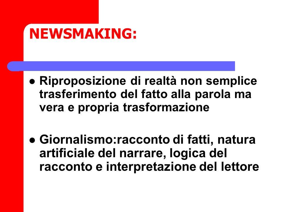 NEWSMAKING: Riproposizione di realtà non semplice trasferimento del fatto alla parola ma vera e propria trasformazione.