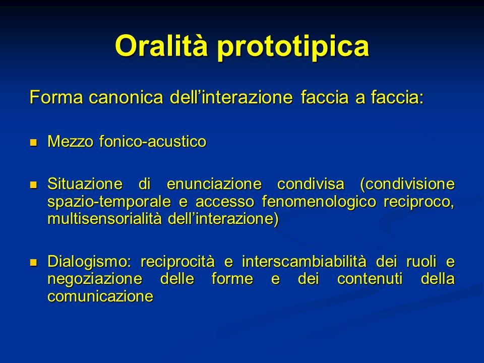 Oralità prototipica Forma canonica dell'interazione faccia a faccia: