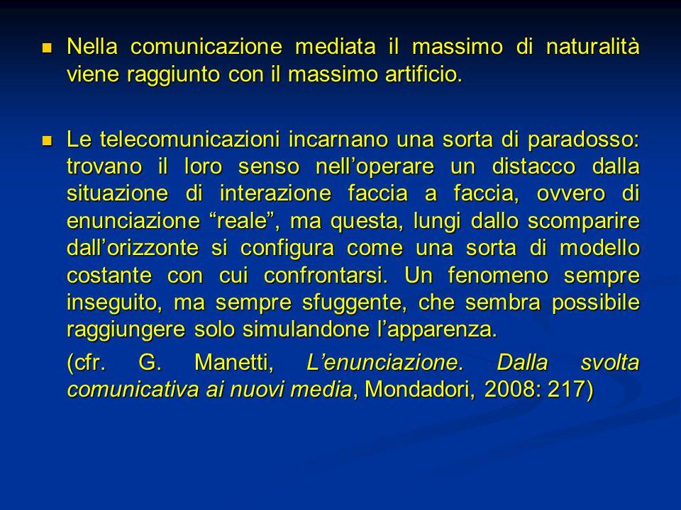 Nella comunicazione mediata il massimo di naturalità viene raggiunto con il massimo artificio.