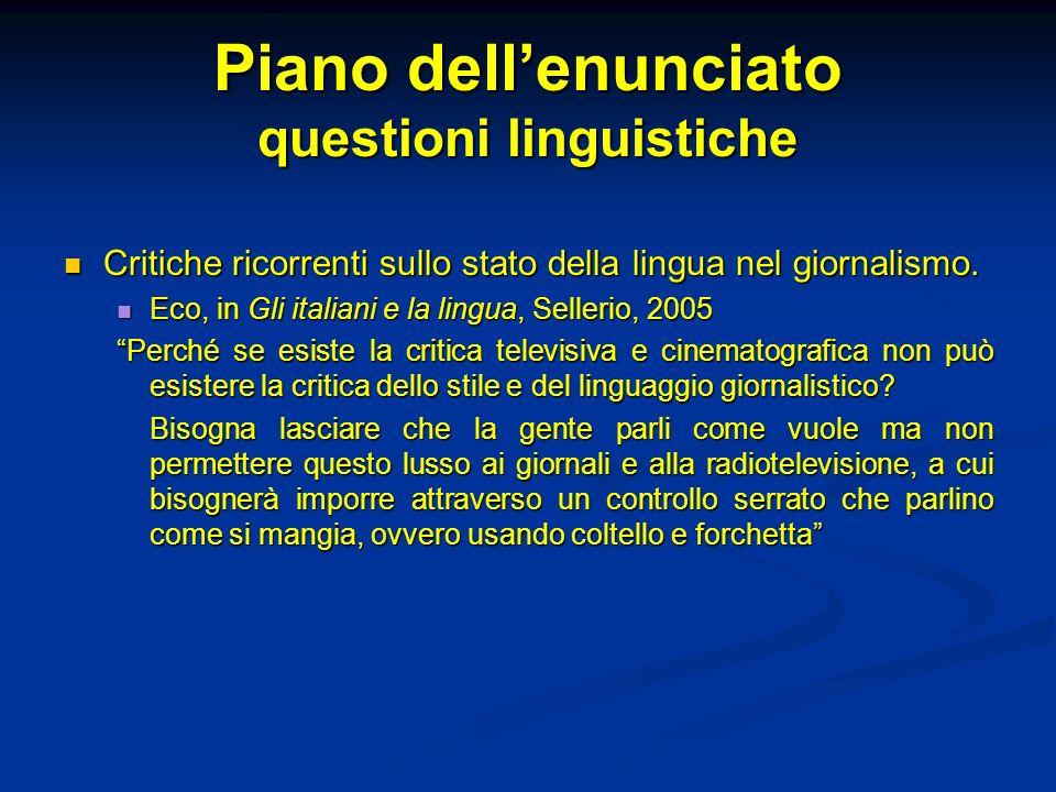 Piano dell'enunciato questioni linguistiche
