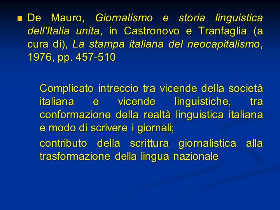 De Mauro, Giornalismo e storia linguistica dell'Italia unita, in Castronovo e Tranfaglia (a cura di), La stampa italiana del neocapitalismo, 1976, pp. 457-510