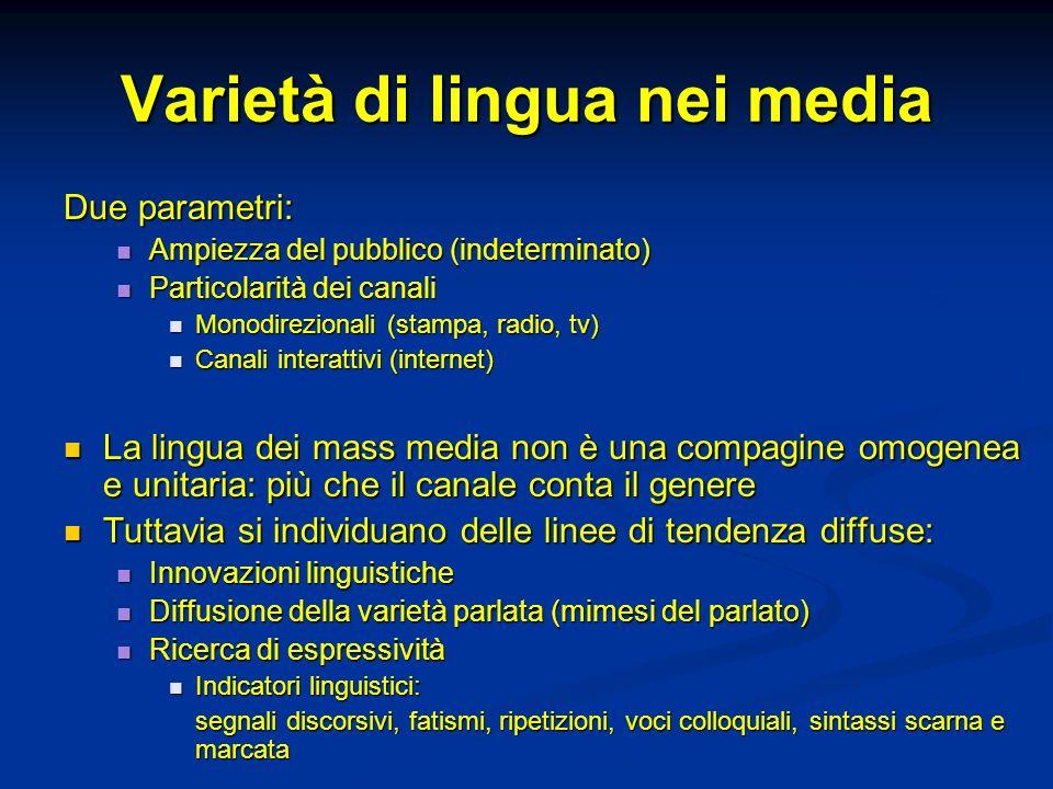 Varietà di lingua nei media
