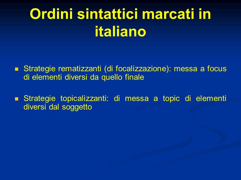 Ordini sintattici marcati in italiano