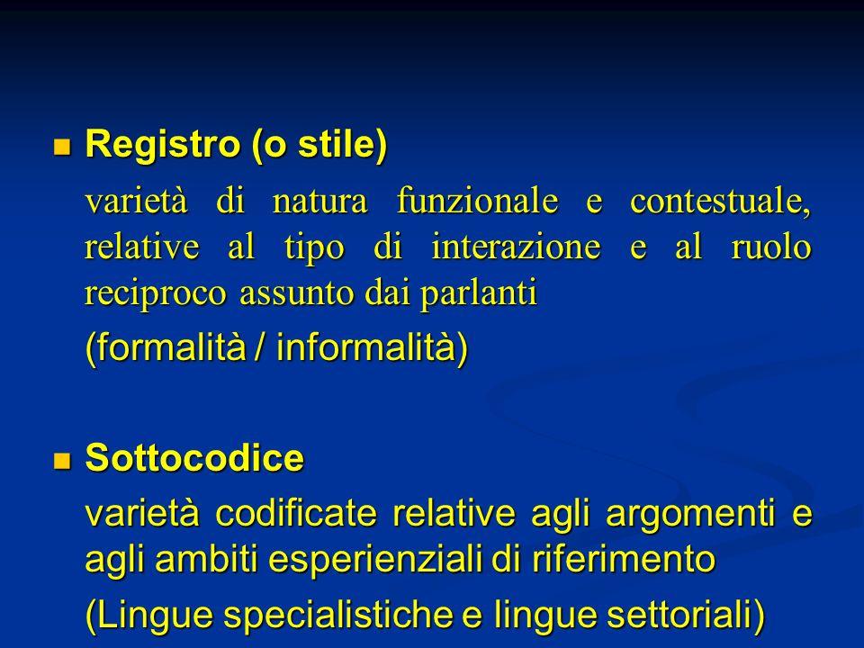 Registro (o stile) varietà di natura funzionale e contestuale, relative al tipo di interazione e al ruolo reciproco assunto dai parlanti.