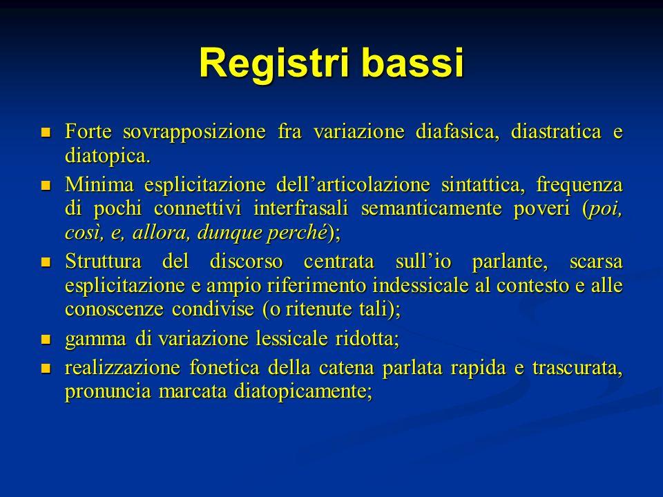 Registri bassi Forte sovrapposizione fra variazione diafasica, diastratica e diatopica.
